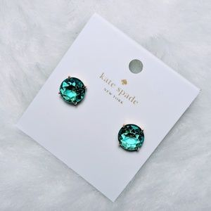 NWT Kate Spade Turquoise Green Gumdrop Gold Studs